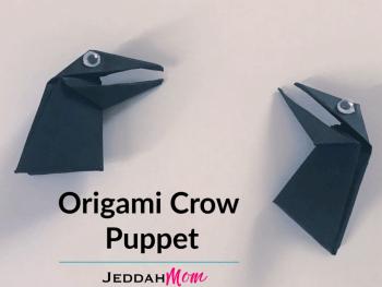 Origami Crow Puppet Kids Craft JeddahMom