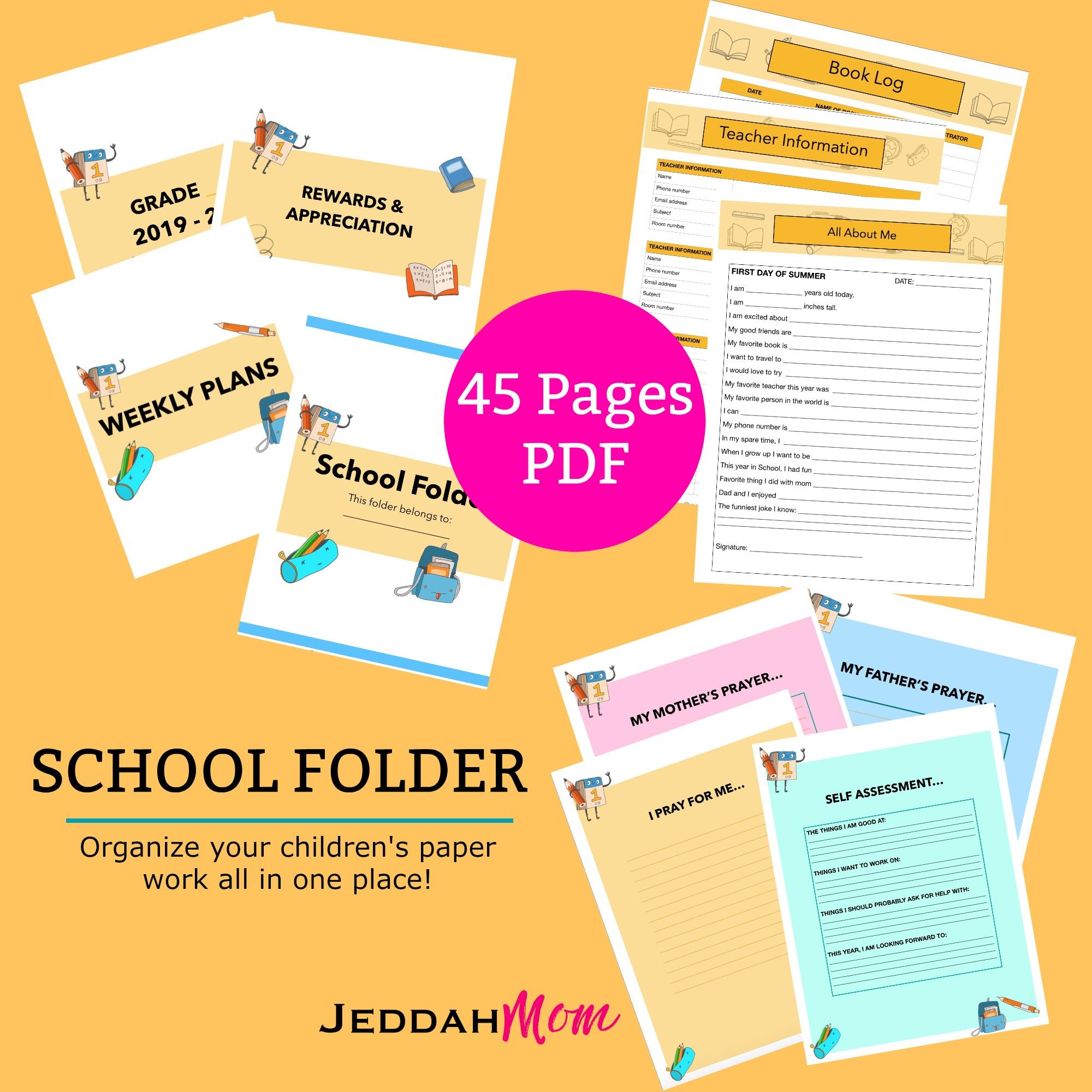 School Folder organize school paper clutter JeddahMom