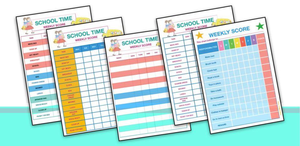 weekly score chore charts for kids_ jeddahmom
