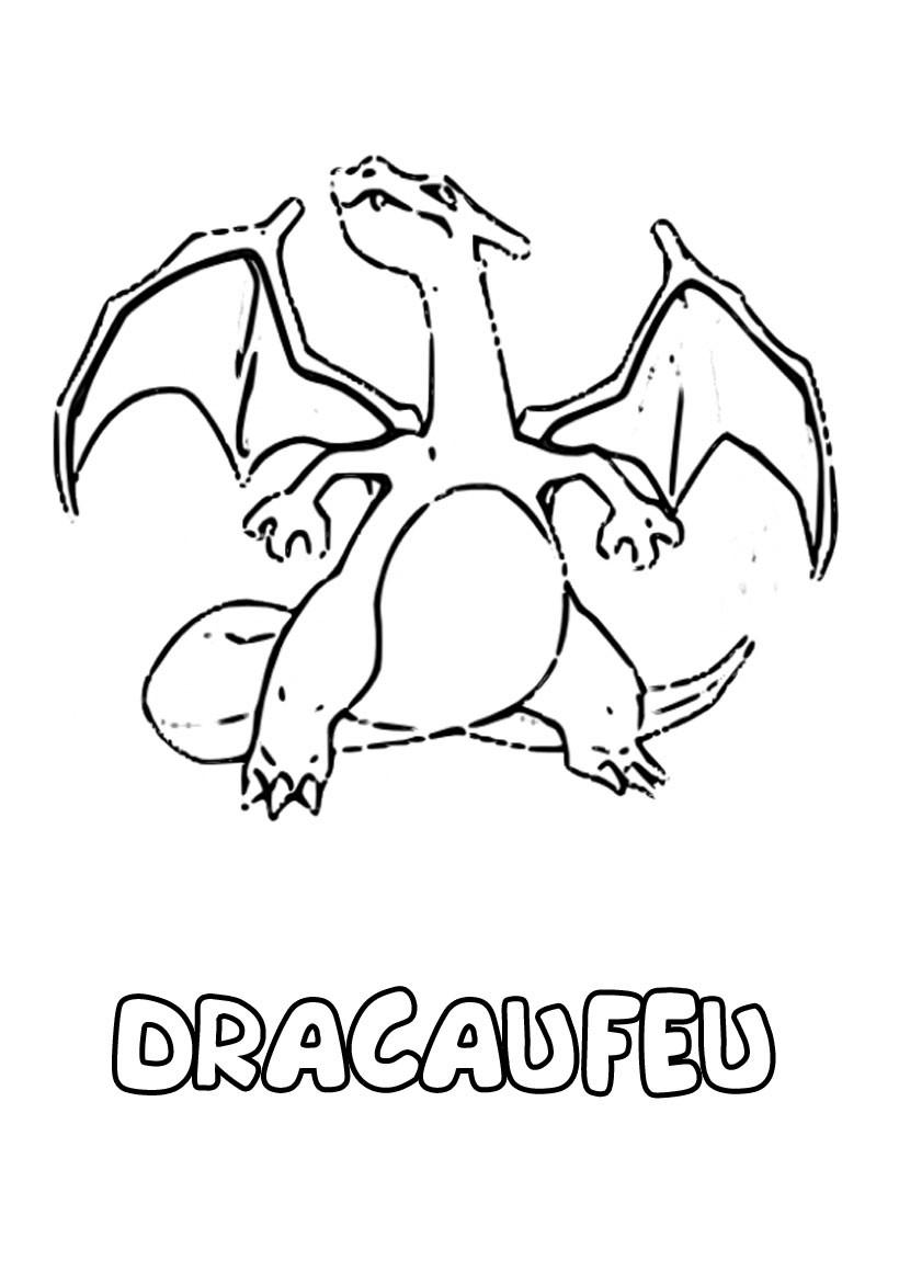 dessin à imprimer du Pokemon Dracaufeu
