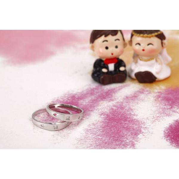 Delightful Married Rings 010 Carat Princess Cut Diamond