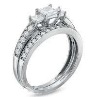 Three Stone Wedding Ring Set on - JeenJewels