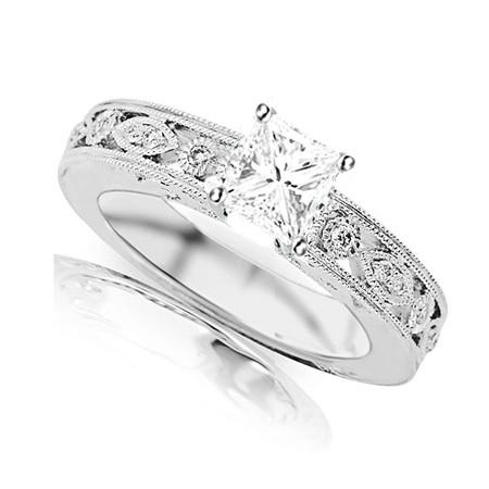 Glorious Antique Diamond Ring 050 Carat Princess Cut Diamond on Gold  JeenJewels
