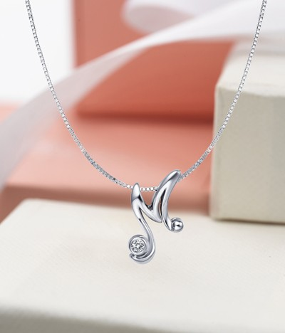15 Carat M Initial Alphabet Diamond Pendant on 10k