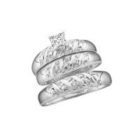 Classic Trio Happy Couples Rings 1 Carat Princess Cut ...