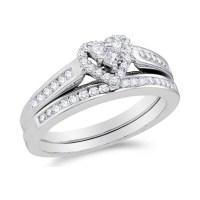 Alluring Heart Ring Halo Cheap Diamond Wedding Ring Set 1 ...