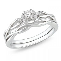 Precious Diamond Bridal Ring Set 0.25 Carat Round Cut