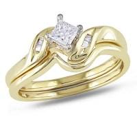 Graceful Cheap Diamond Wedding Set 0.25 Carat Princess Cut ...