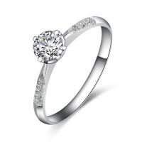 Elegant Diamond Ring 0.50 Carat Round Cut Diamond on White ...