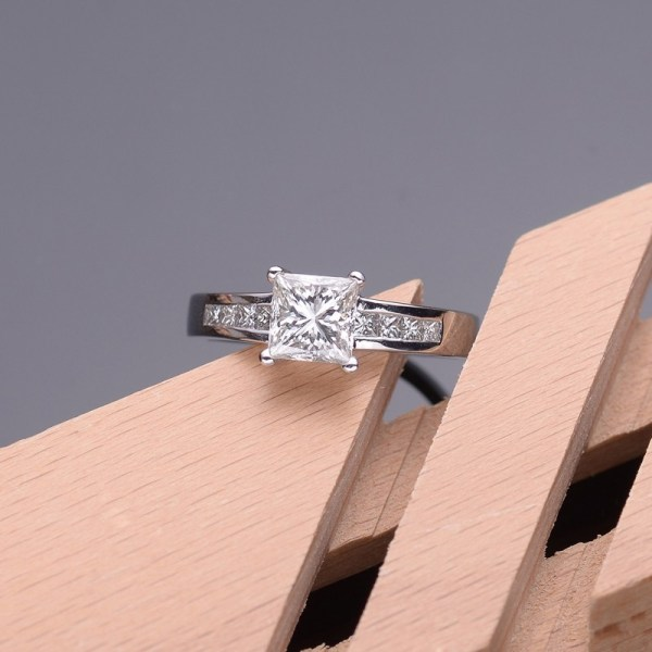 Lustrous Inexpensive Engagement Ring 1.00 Carat Princess Cut Diamond Gold - Jeenjewels