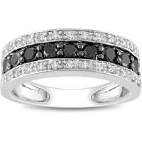 1 Carat Black and White Diamond Wedding Ring Band in White ...