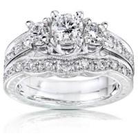 Gleaming Three Stone Inexpensive Diamond Wedding Set 1 ...