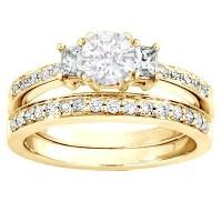 Three Stone Wedding Set - JeenJewels