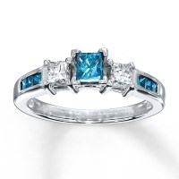 Princess cut Blue Sapphire and Diamond Engagement Ring in ...
