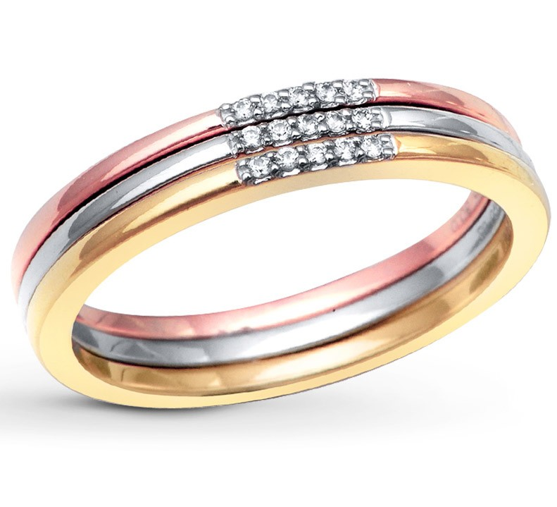 3 Piece Tri Color White Rose And Yellow Wedding Ring Band