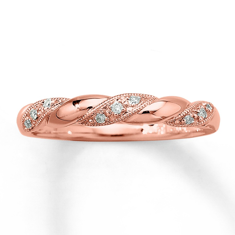 Inexpensive Round Diamond Wedding Ring Band in Rose Gold