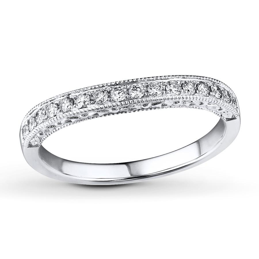 Vintage Round Milgrain Wedding Ring Band In White Gold