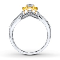 1/2 Carat Round White and Yellow Diamond Engagement Ring ...