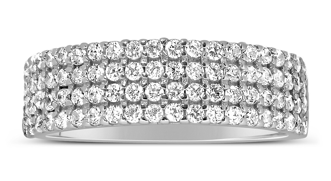 1 Carat 4 Row Diamond Wedding Ring Band For Her In White
