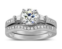 Antique 1 Carat Round Diamond Wedding Ring Set for Her in ...