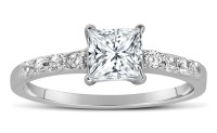 1 Carat Princess cut Diamond Engagement Ring in 10K White ...