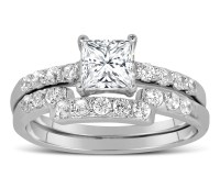 1 Carat Princess cut Diamond Wedding Ring Set in White