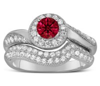 Antique Designer 2 Carat Red Ruby and Diamond Bridal Ring