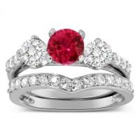 Luxurious 2 Carat Ruby and Diamond Wedding Ring Set in 10k ...