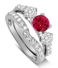 Luxurious 2 Carat Ruby and Diamond Wedding Ring Set in 10k