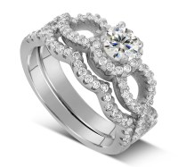 2 Carat Round Infinity Wedding Ring Set in White Gold