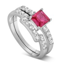 2 Carat Pink Sapphire and Diamond Wedding Ring Set in ...