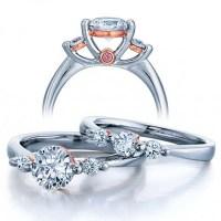 Three Stone Wedding Ring Set for Her - JeenJewels