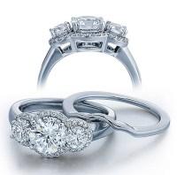 1 Carat Three Stone Trilogy Round Diamond Wedding Ring Set ...