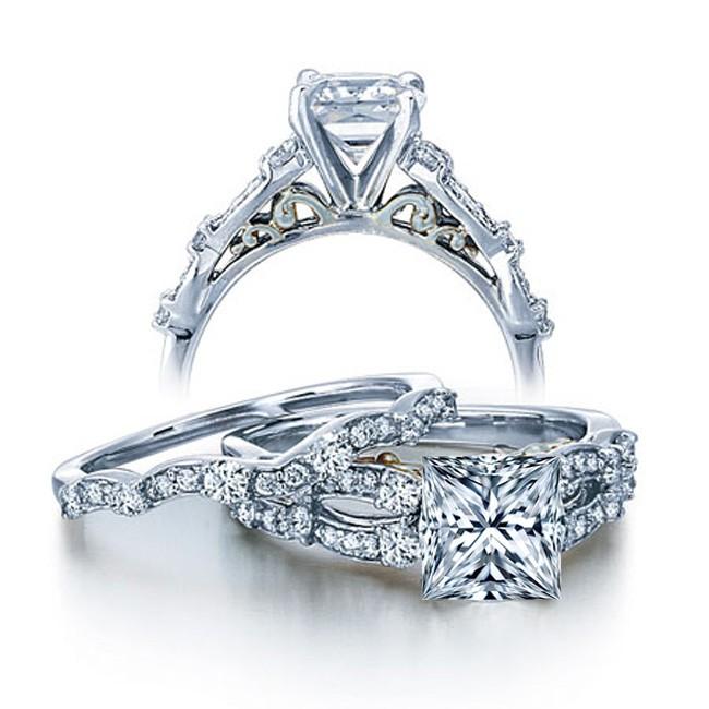 JUST BAND LISTING 1 Carat Vintage Princess Diamond Wedding