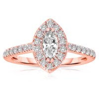 Half Carat Marquise cut Halo Diamond Engagement Ring in ...