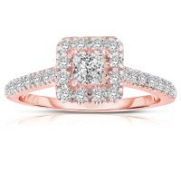 Half Carat Princess cut Halo Diamond Engagement Ring in ...