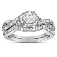 2 Carat Round Diamond Infinity Wedding Ring Set in White