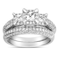 2 Carat Three Stone Trilogy Princess Diamond Wedding Ring