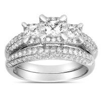 2 Carat Three Stone Trilogy Princess Diamond Wedding Ring ...