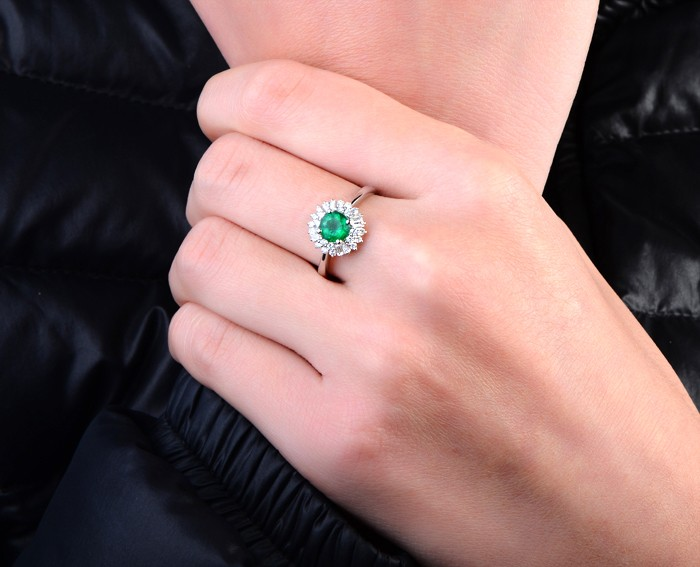 1 Carat Green Emerald and Diamond Halo Engagement Ring for Women in White Gold  JeenJewels