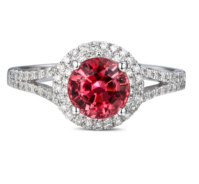 1 Carat Round Cut Red Ruby And Diamond Halo Engagement Ring In White Gold For Women Jeenjewels