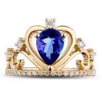 Unique 1 Carat pear cut Sapphire and Diamond Crown shape ...