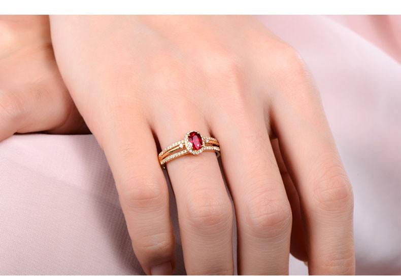 Unique 1 Carat Ruby and Diamond Halo Engagement Ring in Yellow Gold  JeenJewels