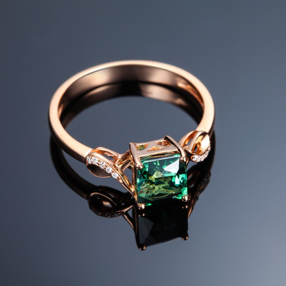 Unique 150 Carat Emerald and Diamond Infinity Engagement Ring in Yellow Gold  JeenJewels