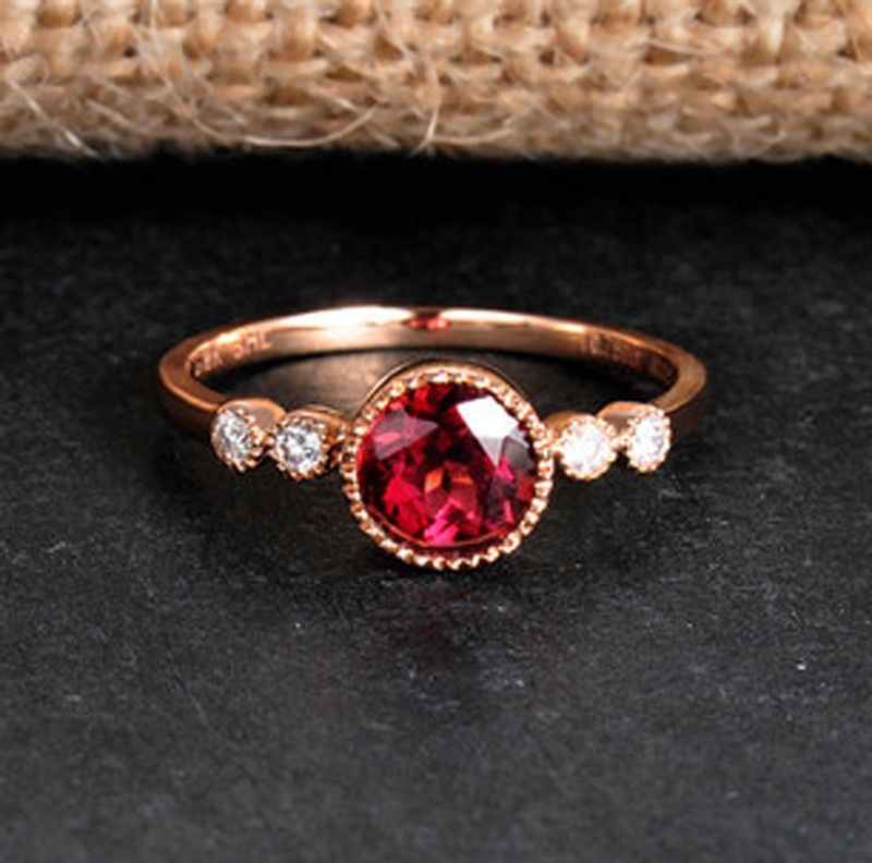 1 Carat Ruby and Diamond Antique Engagement Ring in Yellow