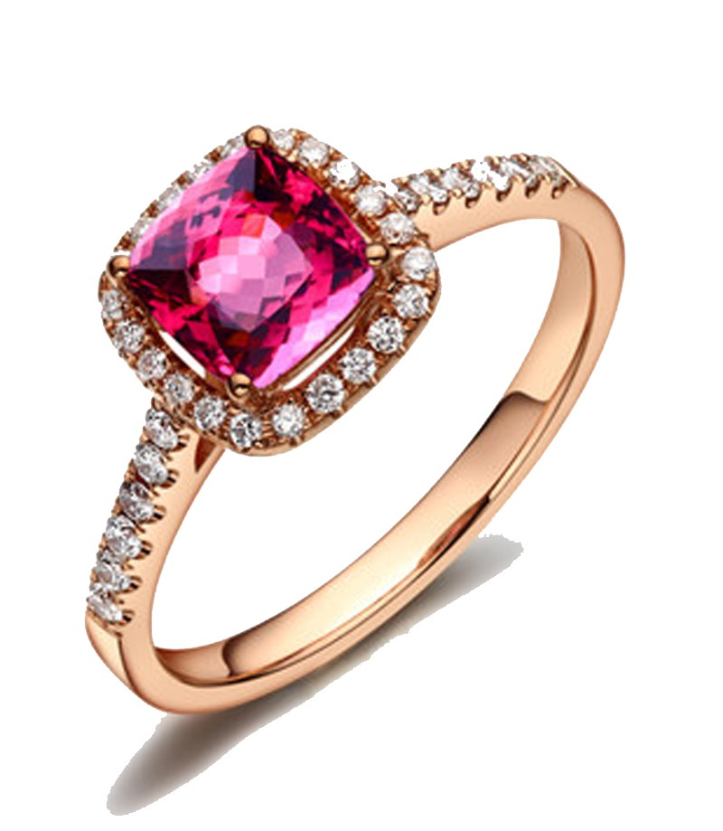 1.50 Carat Cushion cut Ruby and Diamond Engagement Ring