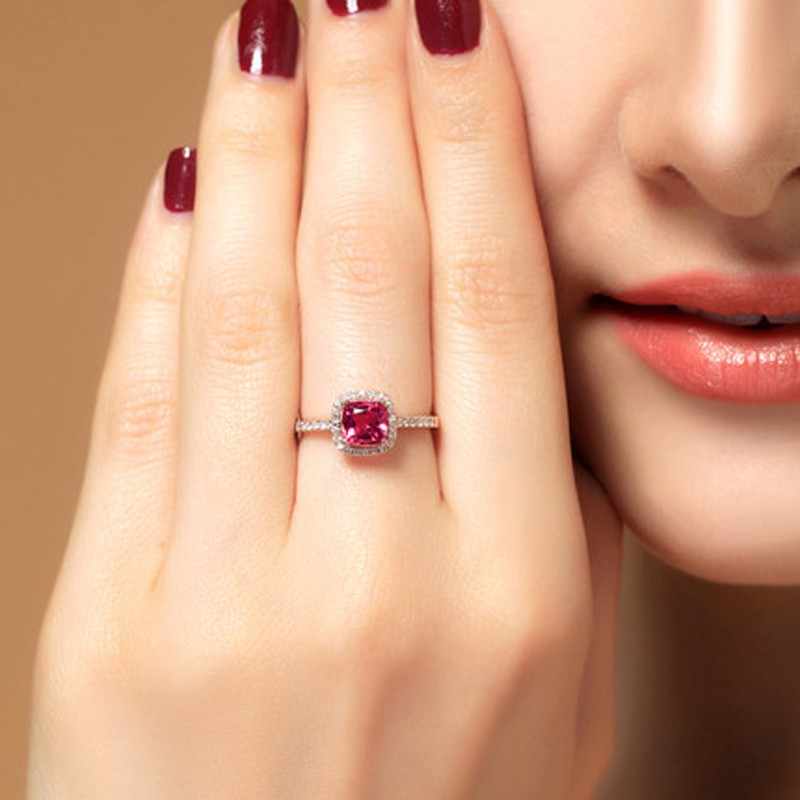 150 Carat Cushion cut Ruby and Diamond Engagement Ring