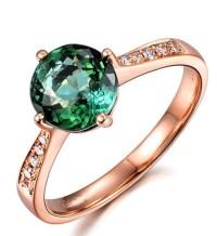 Classic 1 Carat Green Emerald and Diamond Rose Gold ...