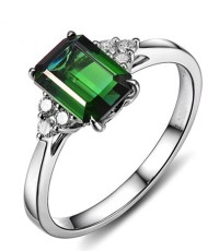 2 Carat Emerald and Diamond Engagement Ring in White Gold ...