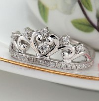 White Gold Princess Crown Rings | White Gold